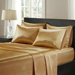 4-PC Gold Bridal Satin Silky Sheet Set Queen/King Size Flat