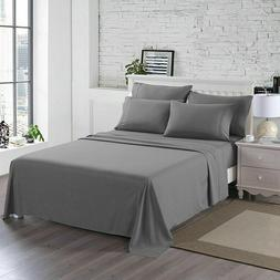 4-PC  Luxury Gray Queen Sheet Set Flat Fitted Pillows New 13
