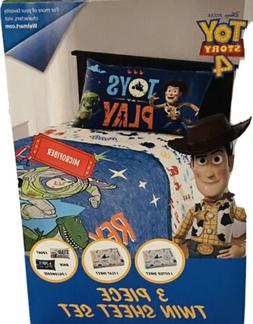 Toys Story 4 Twin Sheet Set with 3 Piece Flat and Fitted She