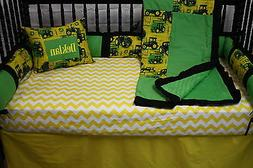 5 pc Tractor John Deere  Baby bedding - free personalized pi