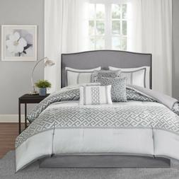 7pc charcoal grey and silver geometric comforter