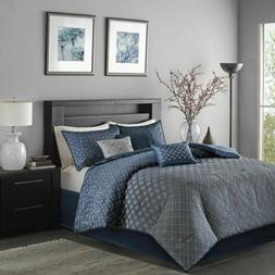 7pc Navy Blue & Grey Ombre Woven Comforter Set AND Decorativ