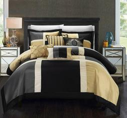 Chic Home 7 Piece Alleta Patchwork Solid Color Block with Em