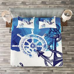 Anchor Quilted Bedspread & Pillow Shams Set, Nautical Wheel