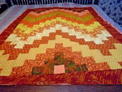 Handmade  Autumn Fall Twin Bed or Throw Quilt with Pillow Ca
