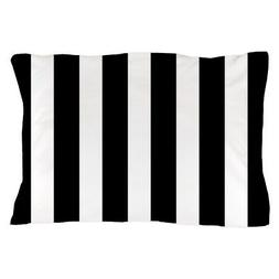 CafePress Black And White Vertical Stripes Pillow Case