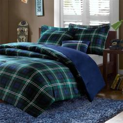 Bold Blue Green & White Plaid Reversible Comforter Set  AND