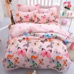 butterfly pink soft fabric bedding set bed