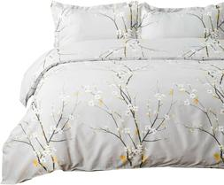 Cherry Blossom Duvet Cover Queen Set Grey Spring Bloom with
