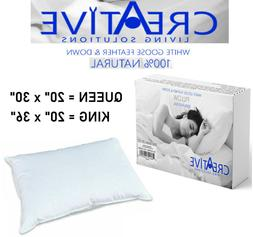 Creative Bed Pillows 100% Natural Goose Feather and Down 100