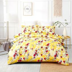 DaDa Bedding Sunshine Yellow Hummingbirds Floral Duvet Cover