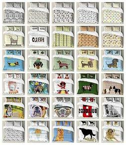Dog Duvet Cover Set Twin Queen King Sizes with Pillow Shams