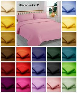 Hotel Quality Non Iron Duvet Cover Set Bedding Deep Fitted S
