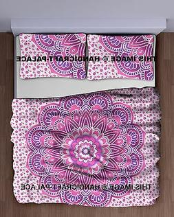 Indian Pink Tapestry Hippie Bedding Throw Ombre Mandala Bed