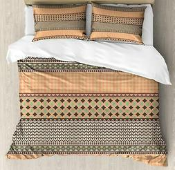 Kente Pattern Duvet Cover Set Twin Queen King Sizes with Pil