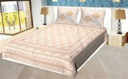 Handmade  King Size 100% Cotton Bed Spread With 2 Pillow Cov