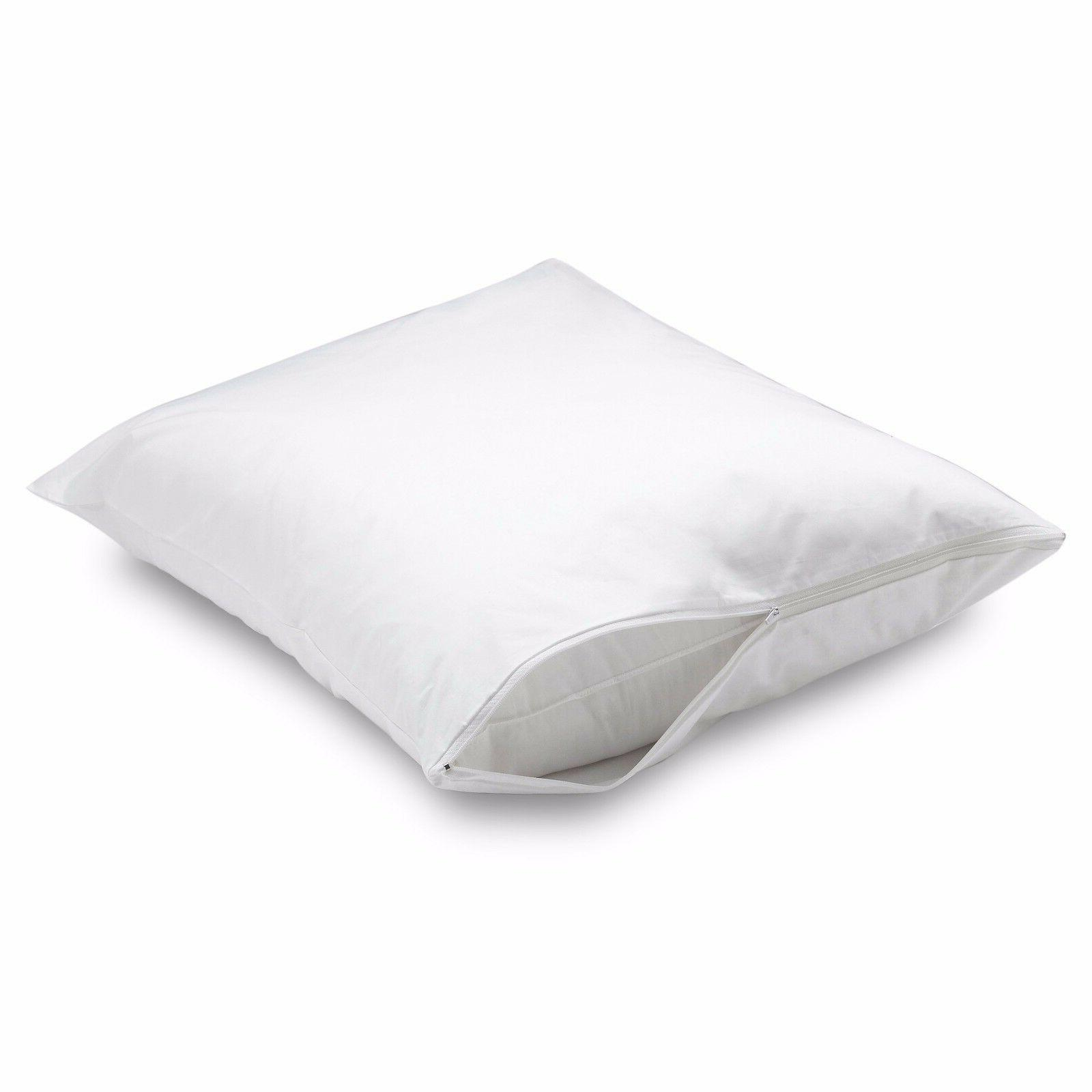 2 DELUXE ZIPPERED FABRIC PILLOW COVERS BED BUG PROTECTOR, HY