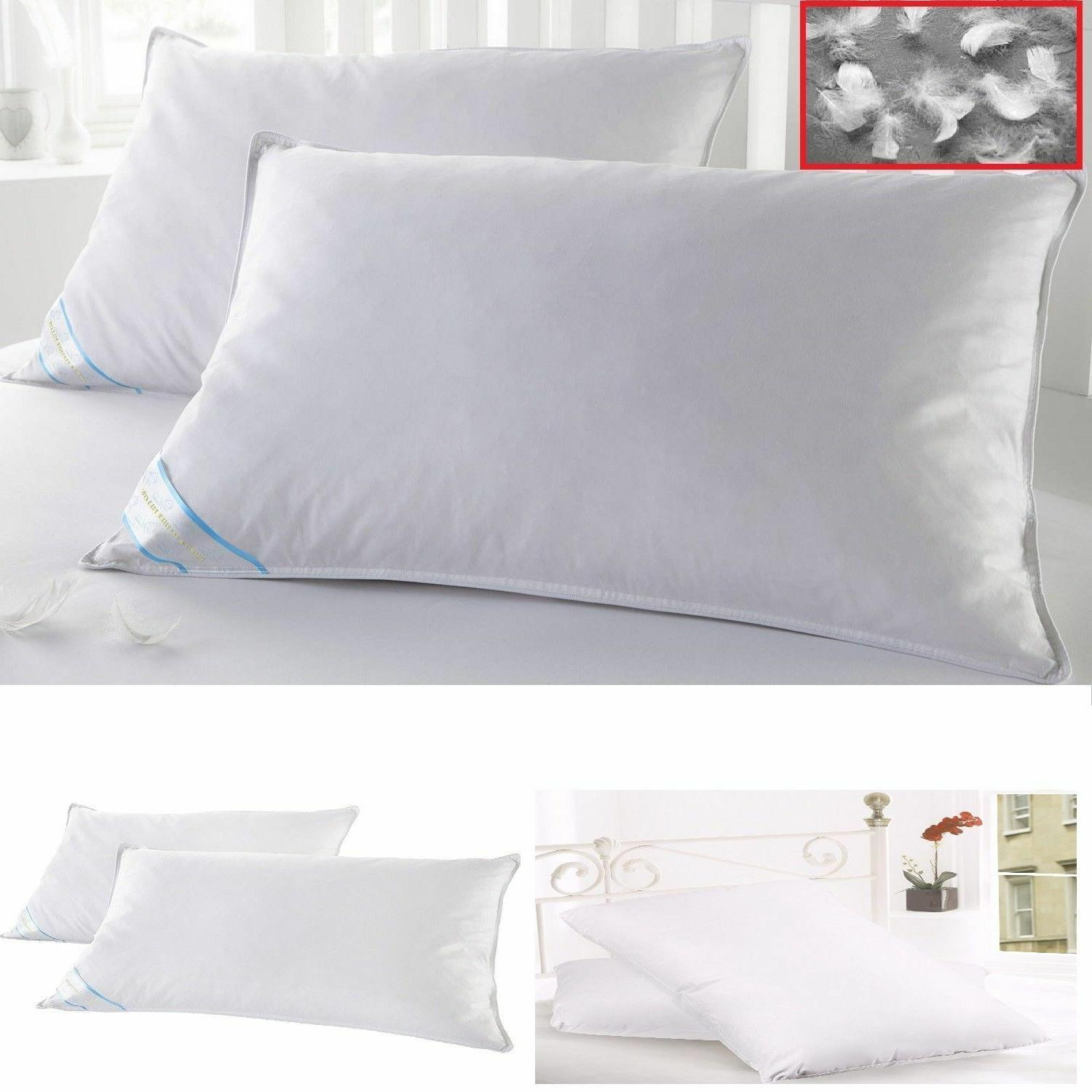 2 King Size Pillows Goose Down Feathers Bed Set Luxury Pillo