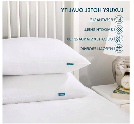 2 Pack Quality Soft Down Alternative Bed Pillows Hypoallergenic