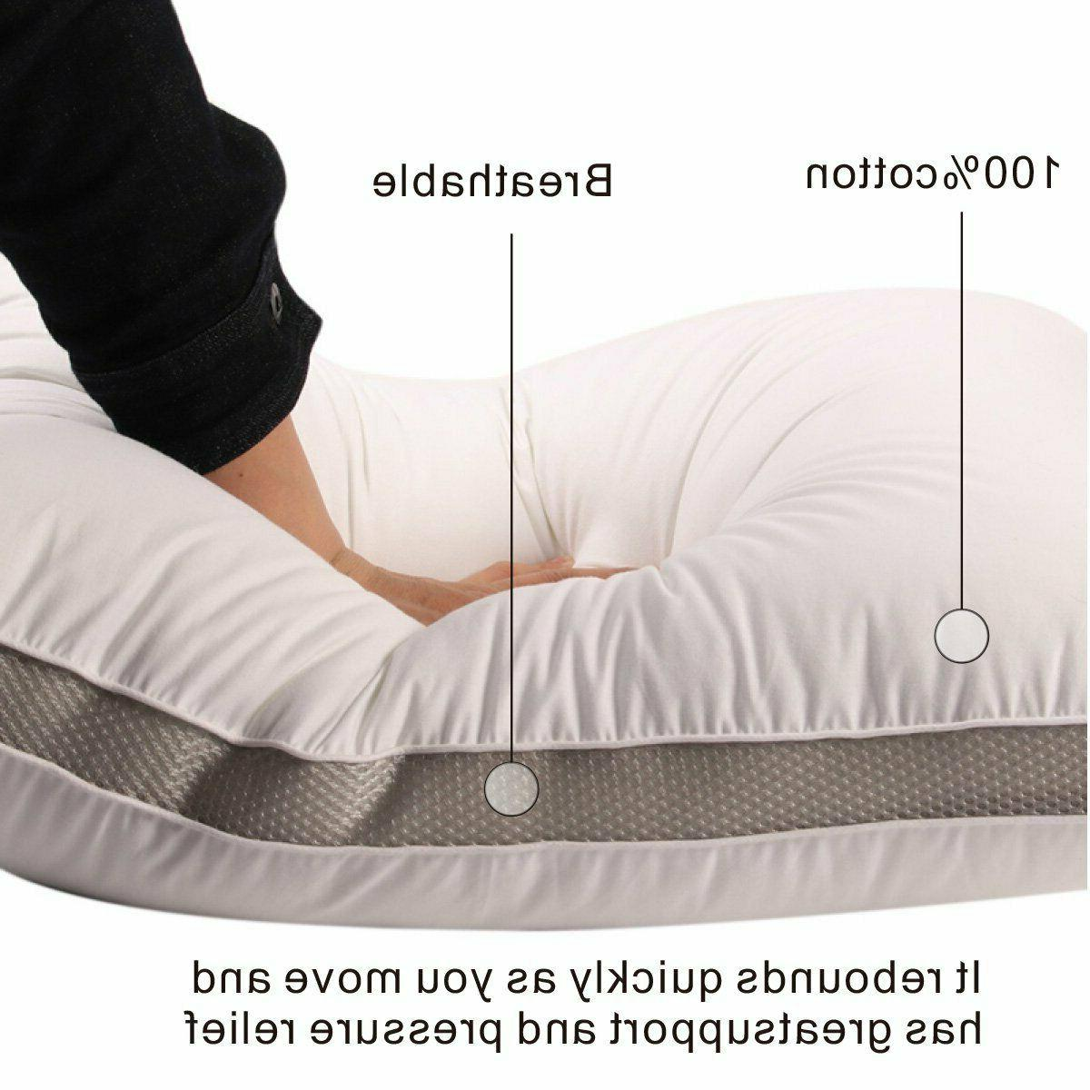 2Pack Gusseted Pillows Neck Support Side Back Sleepers Hypoallergenic