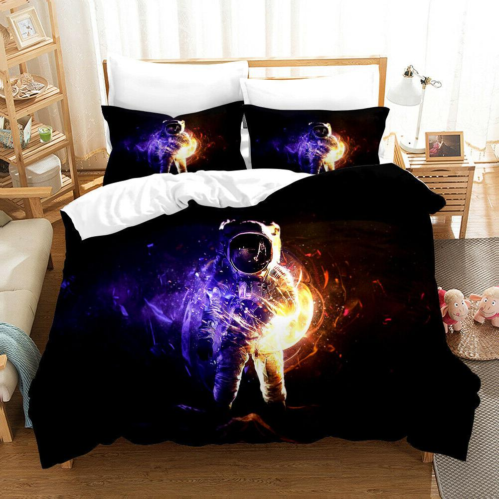 3D Outer Space Astronauts Night Bedding Duvet Cover Comforte