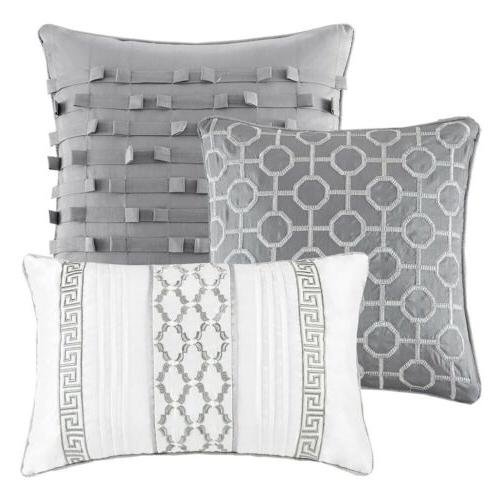 7pc Silver Comforter AND Pillows