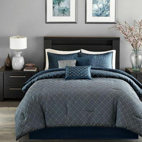 7pc Navy Grey Woven Set - ALL