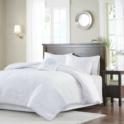 beautiful 5pc white quilted comforter set