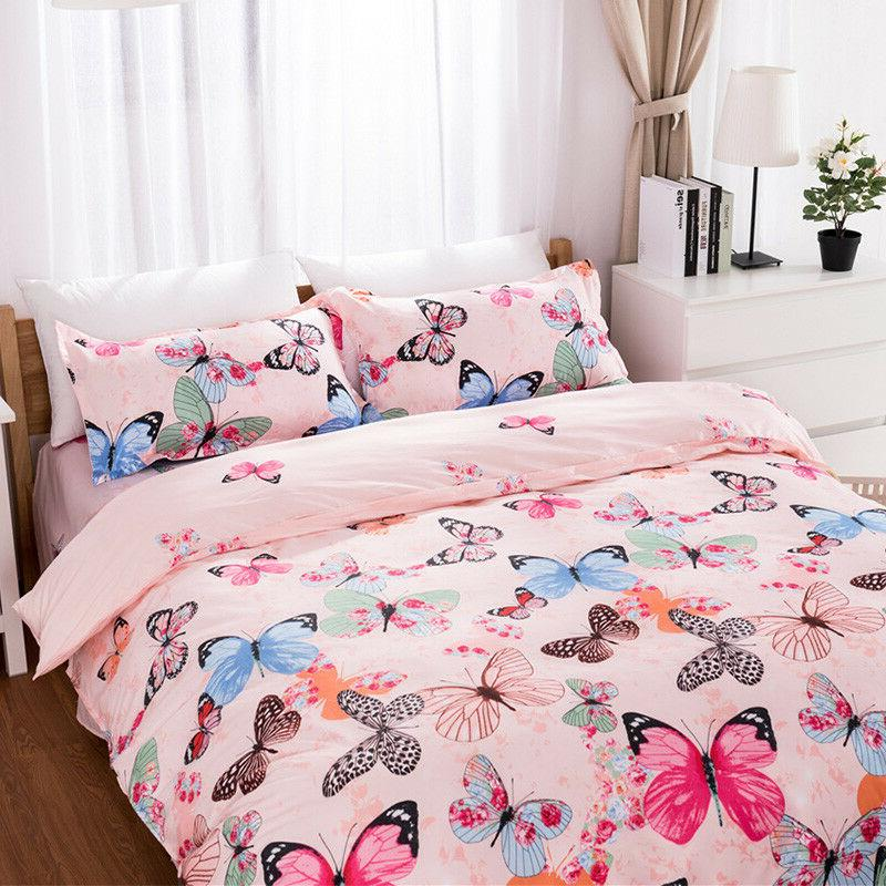 Butterfly Pink Bedding Set Bed Comfort Cover+Sheet+Pillow