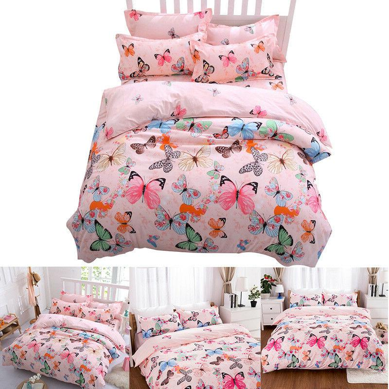 Butterfly Pink Fabric Bedding Cover+Sheet+Pillow