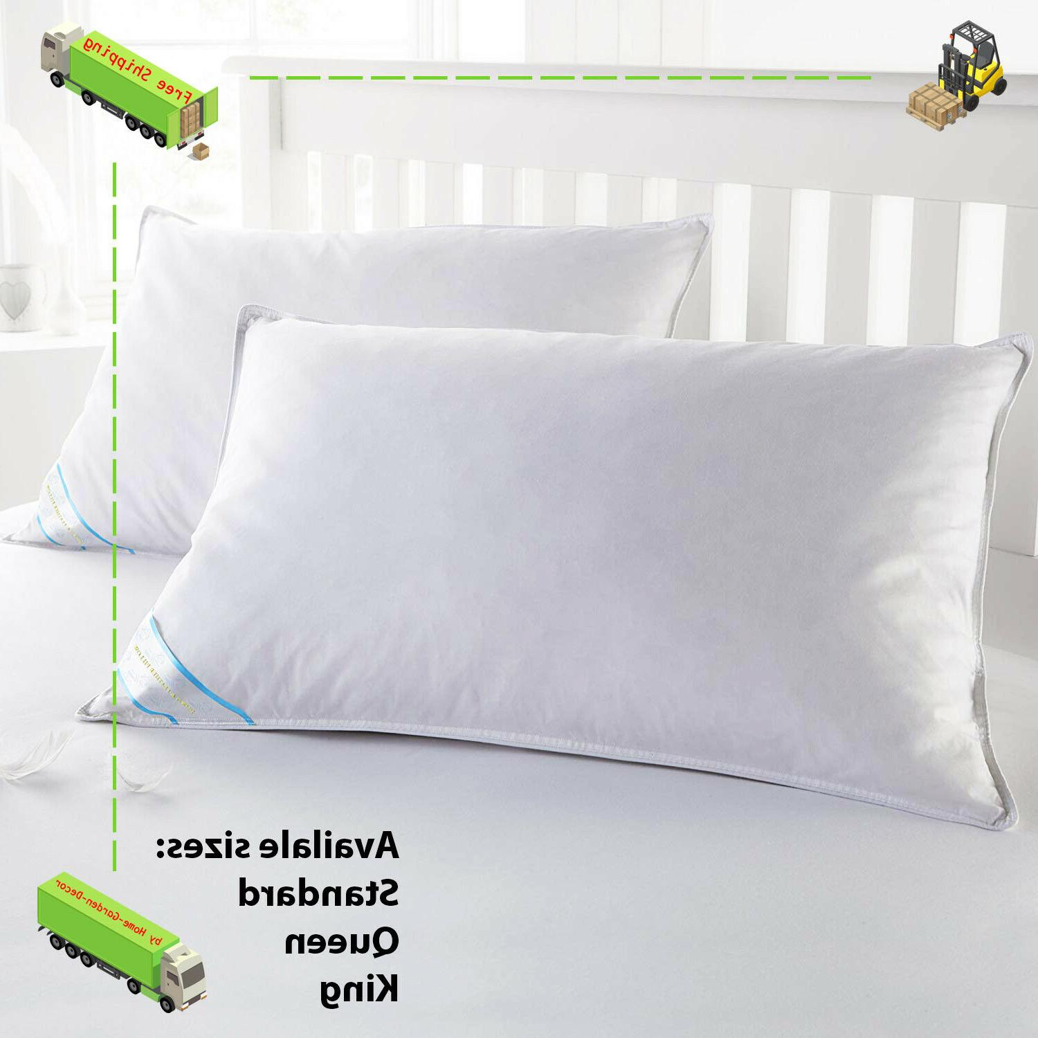 down goose feather bed pillow 2 piece