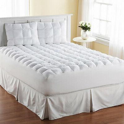 King Size Mattress Pad Cover Memory Foam Pillow Top Topper T
