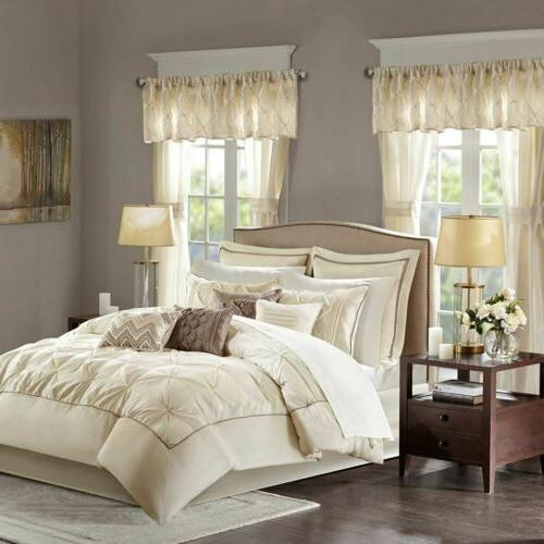 Luxury 24pc Ivory Tufted Comforter Set, Sheets, Pillows, Cur