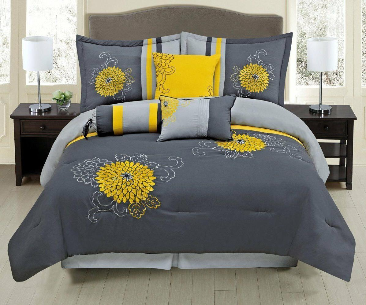 Luxury 7 Piece Grey / Yellow Embroidered Comforter Set with