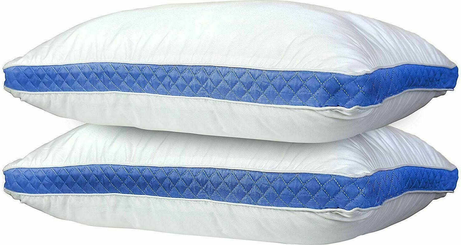 Bed Pillows Set of 2 Side Back Sleepers Gusseted Quilted  Pi