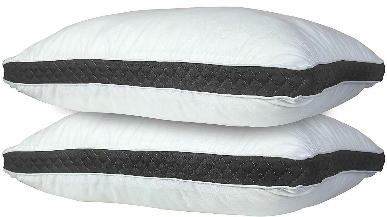 2 Pillows Luxury Ultra Soft Gusseted Bed Pillows and Back