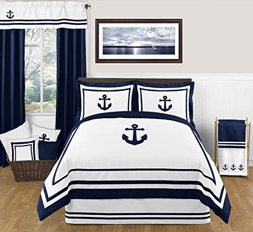 Sweet Designs Pillow and White Anchors Away Nautical