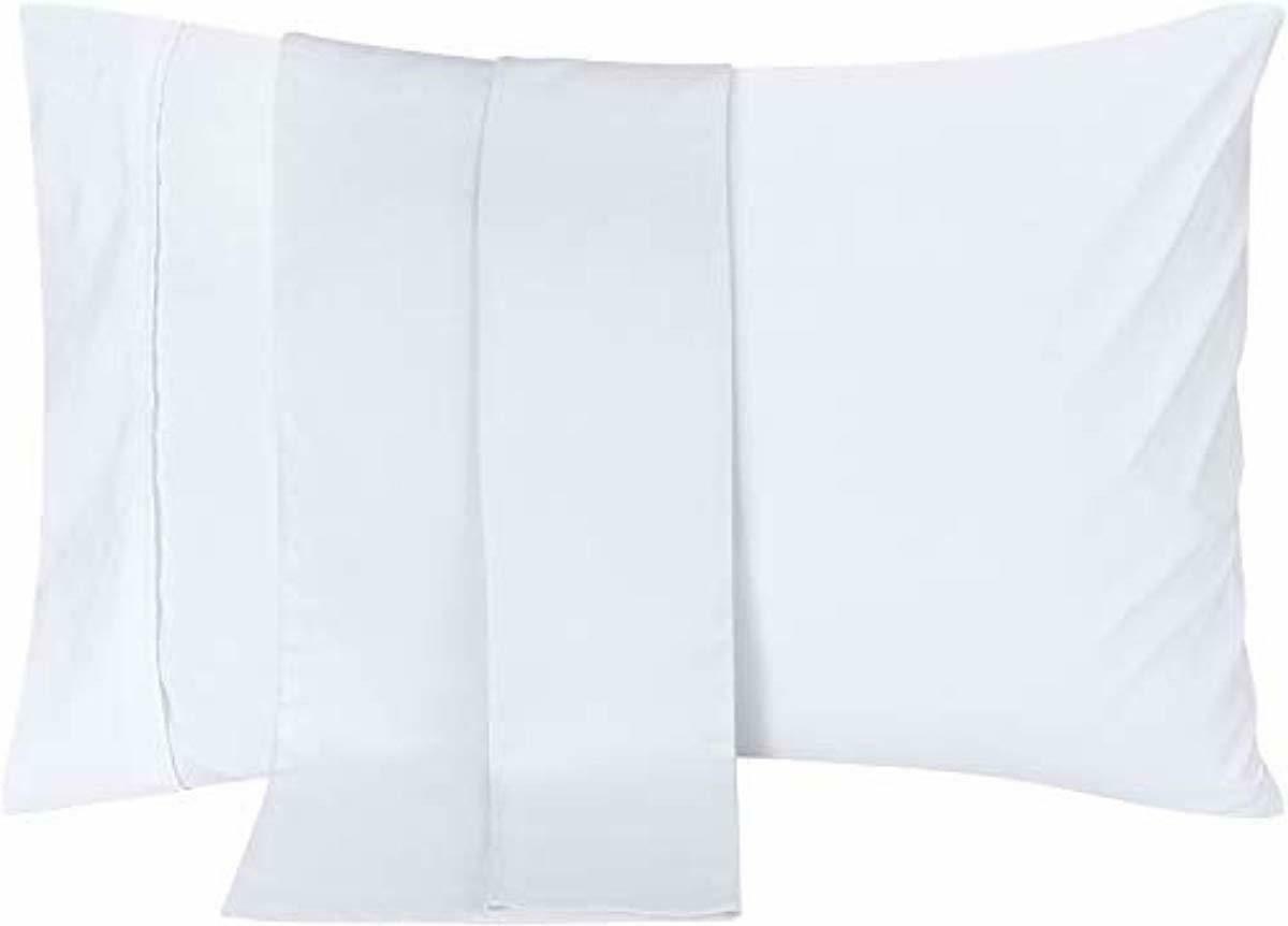 pillowcases 2 pack queen white brushed microfiber
