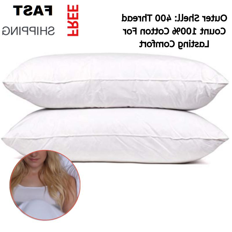 Set of 2 100% Goose Down and Feather Pillow Queen Size Premi