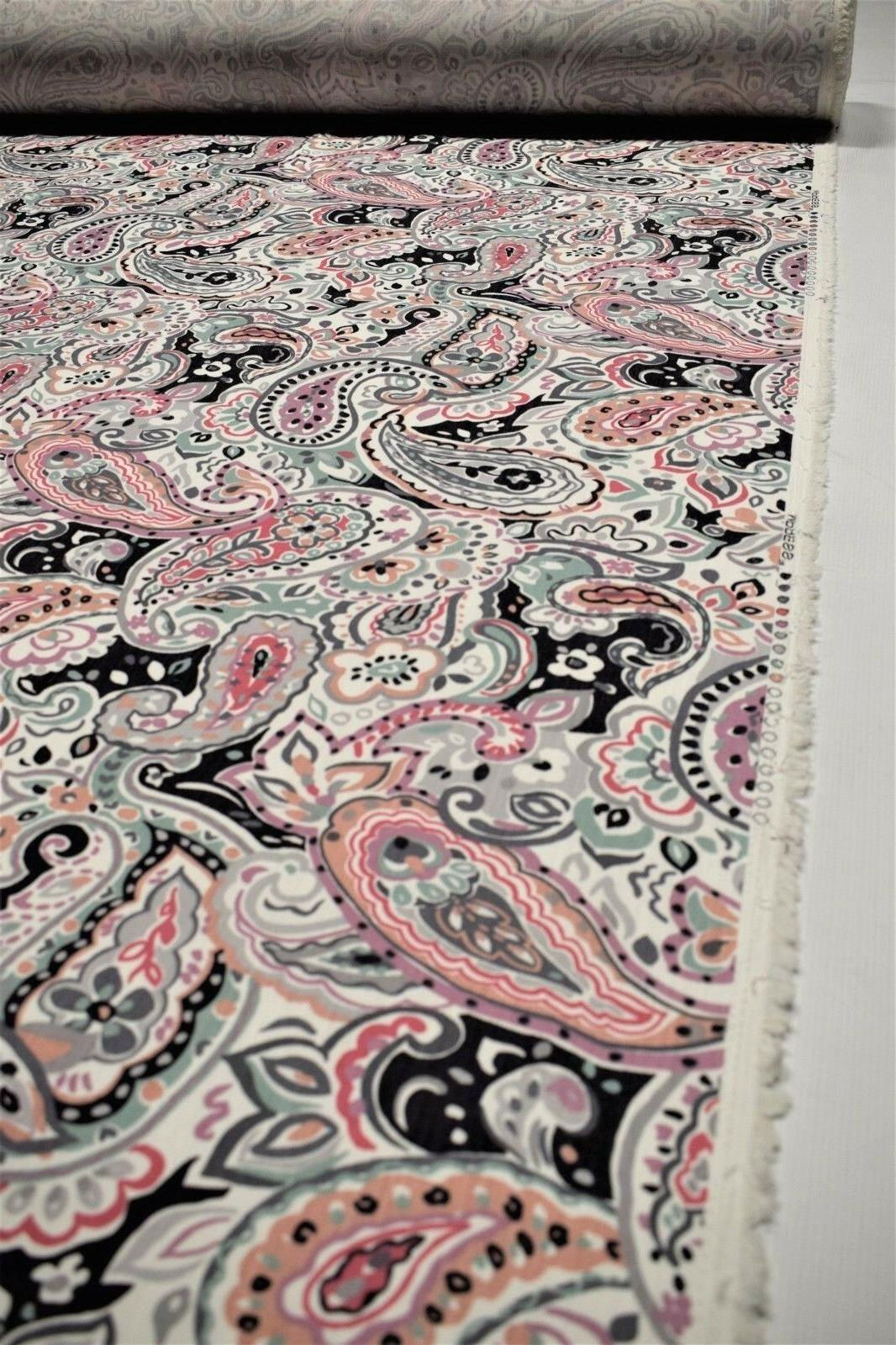 Upholstery Drapery Paisley Floral Cotton Pink Teal Fabric