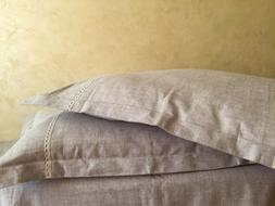 Linen Pillowcase with Flanges and Lace Decor - Queen, King,