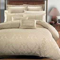 Luxury 7pc Jacquard Design Beige Duvet Cover Bedding Set AND