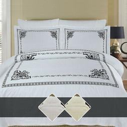 Luxury Athena 100% Combed Cotton Embroidered Duvet Cover Set