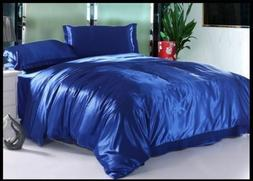 LUXURY HOTEL COLLECTION ROYAL BLUE SATIN SILK ALL USA BEDDIN
