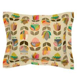 Mid Century Floral Home Kitchen Modern 1950S Flowers Pillow