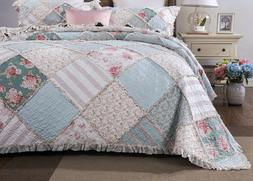 DaDa Bedding Mint Floral Pastel Pink Cotton Patchwork Ruffle