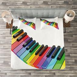 Music Quilted Bedspread & Pillow Shams Set, Vibrant Keyboard