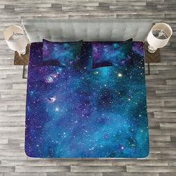 Nebula Quilted Bedspread & Pillow Shams Set, Galaxy Stars in