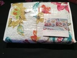 NEW 2 PC SET Homthreads Quilted Standard Pillow Shams Bright
