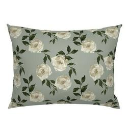 Nursery Rose Roses Floral Flowers Boho Taupe Pillow Sham by